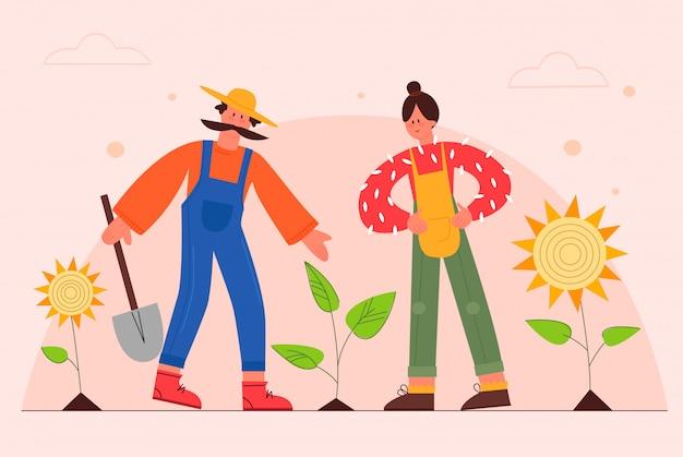 Gärtner flache vektorillustration. paar bauern, die sonnenblumen im garten pflanzen. männliche und weibliche zeichentrickfiguren, die auf der ranch arbeiten. bauernfamilie, die sich um pflanzen kümmert. gartenkonzept.