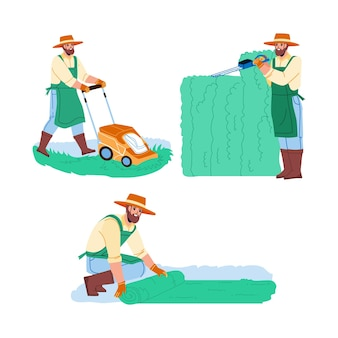 Gärtner-mann-arbeit im garten-sammlungs-satz-vektor. gärtner hecke mit gartenschere beschneiden, rasen legen und gras mit mähwerk mähen. charakter-landarbeiter-flache cartoon-illustrationen
