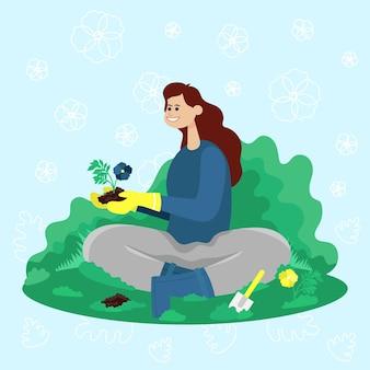 Gärtner sitzt im garten und pflanzt blumen. flache karikaturillustration des farbvektors.