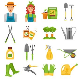 Gärtner-werkzeug-zubehör-flache ikonen eingestellt