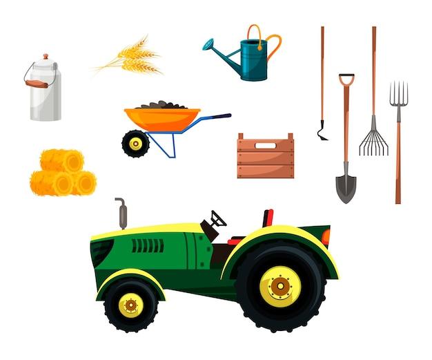 Gärtner werkzeuge und landwirtschaftliche maschinen bauernhof set traktor strohballen weizen ohren kanister schaufel hacke heugabel stahl schneebesen schubkarre mit boden bewässerungsdose holzkiste