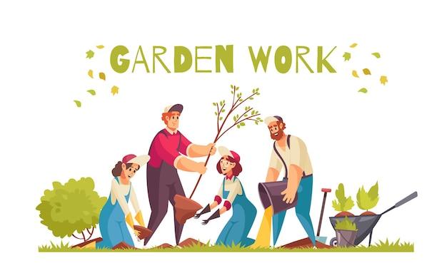 Gärtnerarbeitskonzept mit bäumen und gemüse, die flach pflanzen