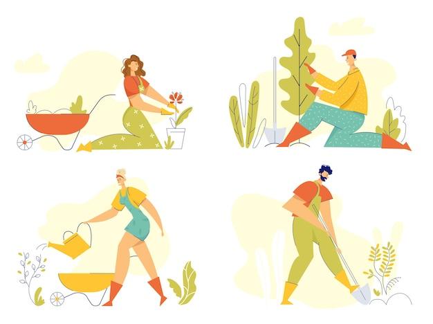 Gärtnercharaktere, die im gartenkonzept arbeiten. mann pflanzt baum, frau mit gießkanne, die blumen wächst. gartenarbeit, landwirtschaft banner.