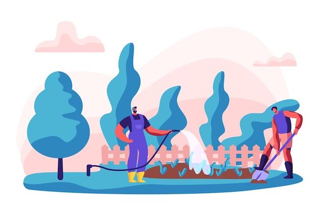 Gärtnerfiguren bei der arbeit. mann, der im garten arbeitet, der blumen und pflegepflanzen mit werkzeugen gießt.