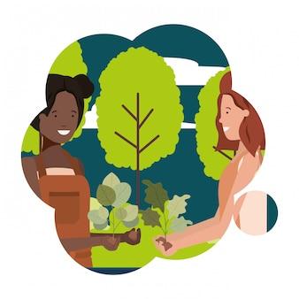 Gärtnerinnen mit landschafts-avatar-charakter
