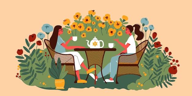 Gärtnerische zusammensetzung mit zwei frauen, die am tisch sitzen und draußen tee trinken, umgeben von blumenblütenillustration
