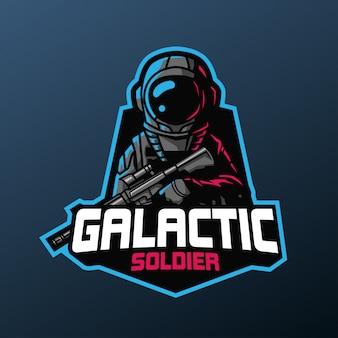 Galaktisches soldatenmaskottchen für sport- und esportlogo lokalisiert auf dunklem hintergrund