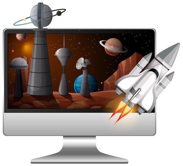 Galaxie hintergrund auf computerbildschirm