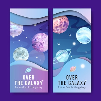Galaxiefahne mit planetenaquarellillustration.