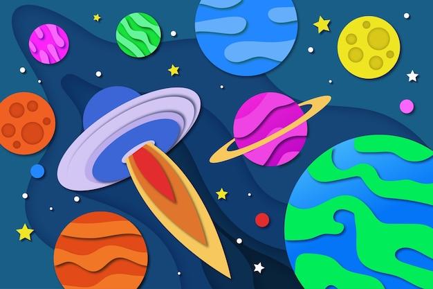 Galaxiehintergrund im papierstil