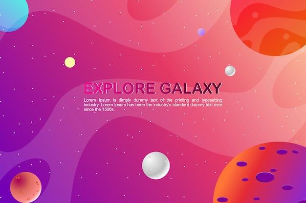 Galaxiehintergrund mit flachem design des bunten planeten und textschablone