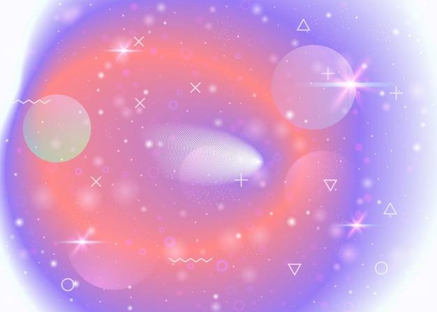 Galaxiehintergrund mit kosmos- und universumsformen und sternenstaub. fantastische weltraumlandschaft mit planeten. 3d-flüssigkeit mit magischen funkeln. holographische futuristische farbverläufe. hintergrund der memphis-galaxie.