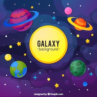 Galaxy hintergrund mit bunten planeten