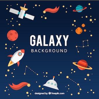 Galaxy hintergrund mit planeten und anderen elementen