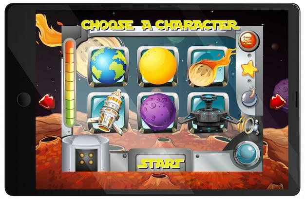 Galaxy-spiel auf tablet-gerät