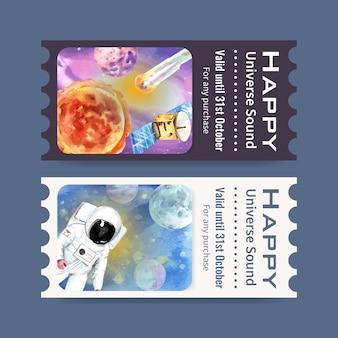 Galaxy ticket vorlage mit astronauten, sonne, planeten, meteor aquarell illustration.