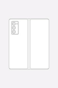 Galaxy z fold 2 umriss, rückfahrkamera, flip-phone-vektorillustration
