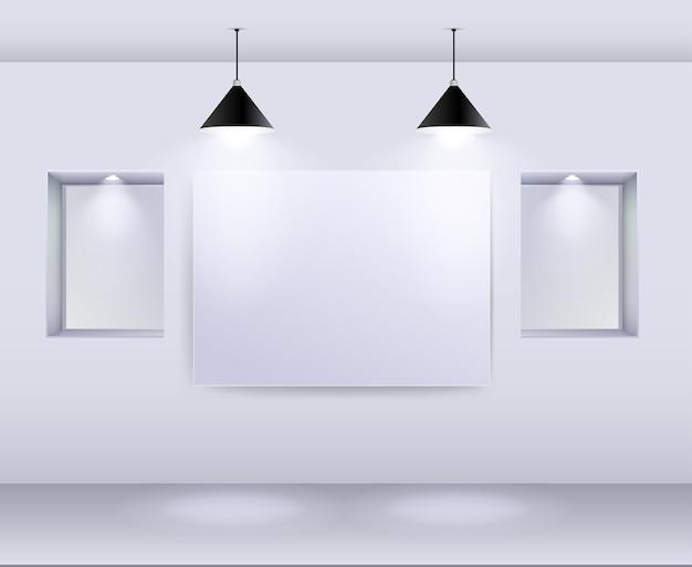 Galerie-innenraum mit leerem rahmen auf wand und scheinwerfern Premium Vektoren