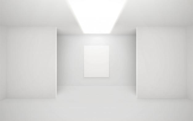 Galerie interieur der modernen kunst. architekturillustration der museumshalle. ausstellungsraum mit minimalen weißen wänden.