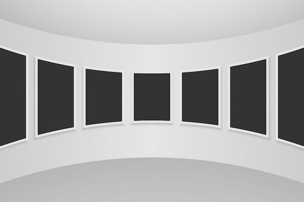 Galerie interieur mit leeren rahmen an der wand