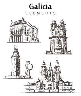 Galizien stellte skizzengebäude auf weiß ein