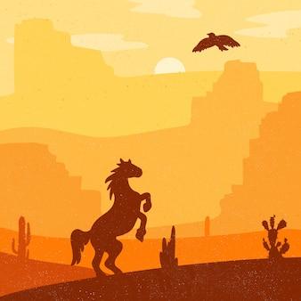 Galoppierendes pferd des retro- wilden westens in der wüste. weinlesesonnenuntergang im grasland mit mustang