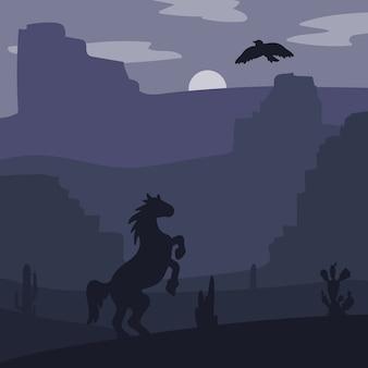 Galoppierendes pferd des retro- wilden westens in der wüste
