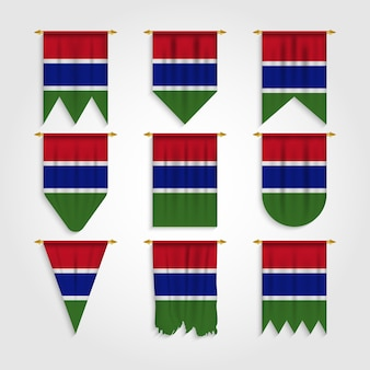 Gambia flagge in verschiedenen formen, flagge von gambia in verschiedenen formen