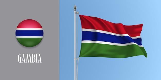 Gambia wehende flagge am fahnenmast und runde symbolvektorillustration. realistisches 3d-modell mit design der gambischen flagge und kreistaste