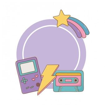 Game boy kassette und beleuchtungsrahmen