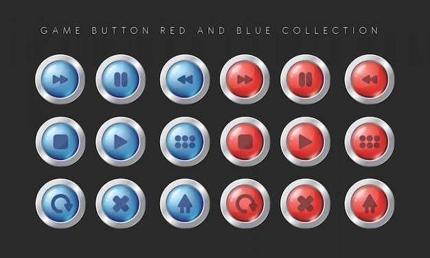 Game button rote und blaue sammlung
