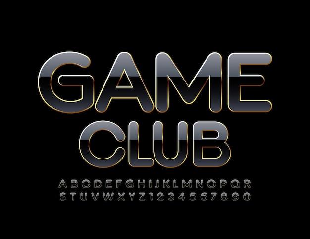 Game club glossy schwarz und gold elegantes, modernes alphabet mit buchstaben und zahlen
