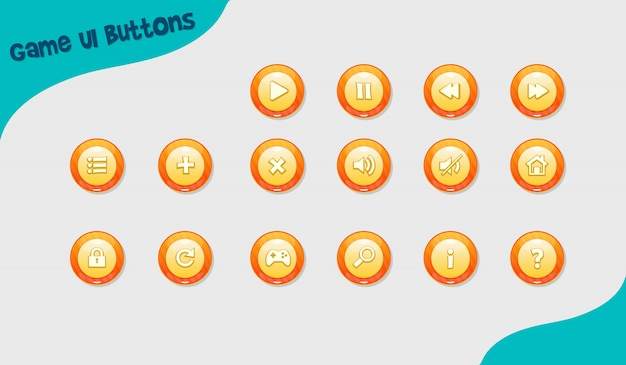 Game design buttons, ui-design-elemente