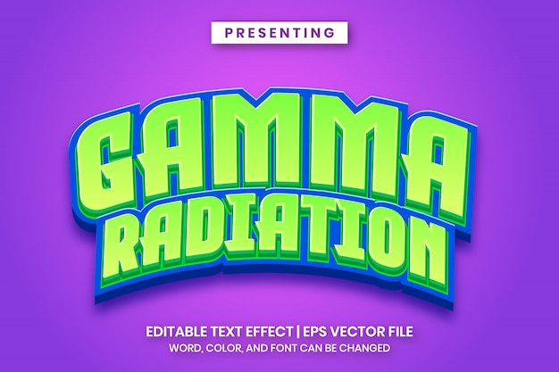 Game logo vorlage - gammastrahlung bearbeitbarer texteffekt