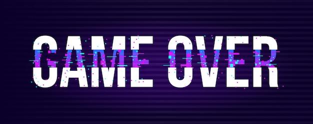 Game over banner für spiele mit glitch-effekt im pixel-stil.