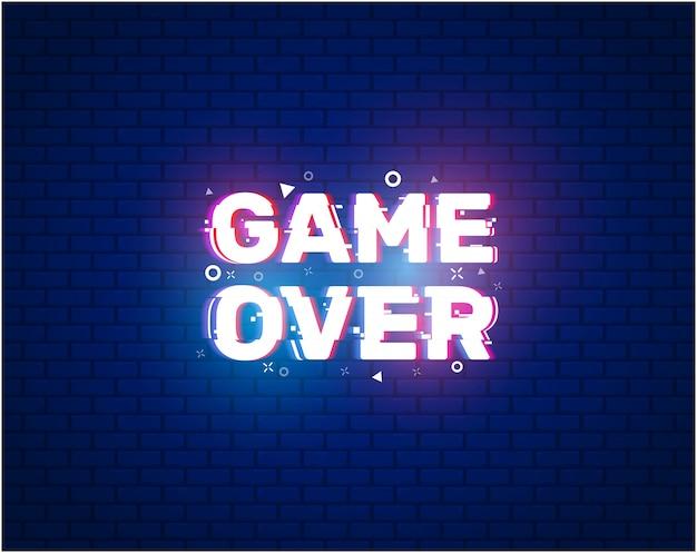 Game over banner für spiele mit glitch-effekt.