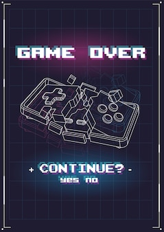 Game over poster mit lowpoly-elementen.