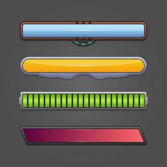Game ui kit mit statusleisten / batterieliste eines kits mit cartoon-symbolen, schaltflächen, ressourcen und statusleisten für die game ui in mobilen apps.