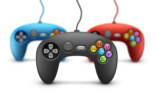 Gamepad-konzept auf weißem hintergrund.