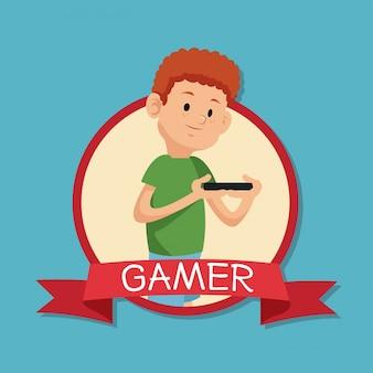Gamer, der mobiles devide fahnenblau backgroung spielt