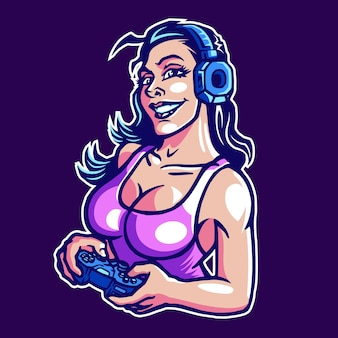 Gamer girl esport maskottchen logo