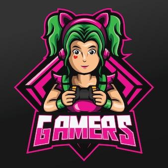 Gamer girl mit grünem haar und halten joystick mascot sport illustration design für logo esport gaming team squad