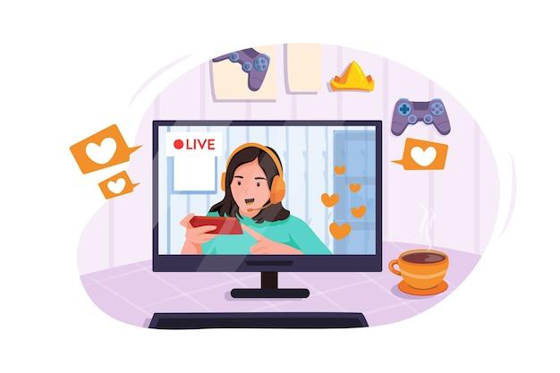 Gamer girl stellt fans mit smartphone das online-handyspiel vor