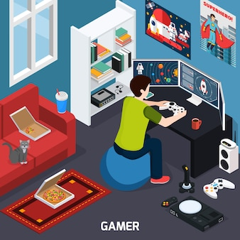 Gamer isometric composition