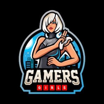 Gamer mädchen maskottchen esport logo-design