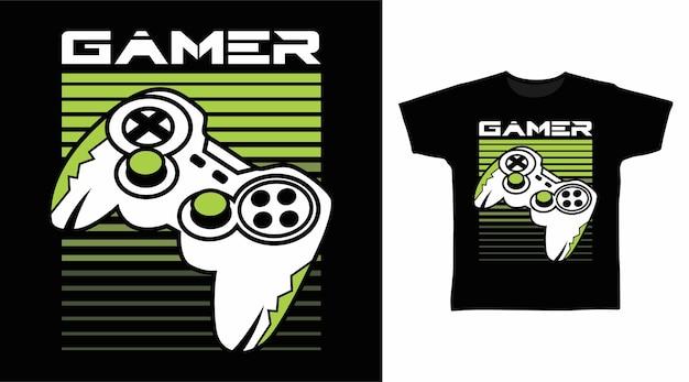 Gamer mit joystick-t-shirt-design