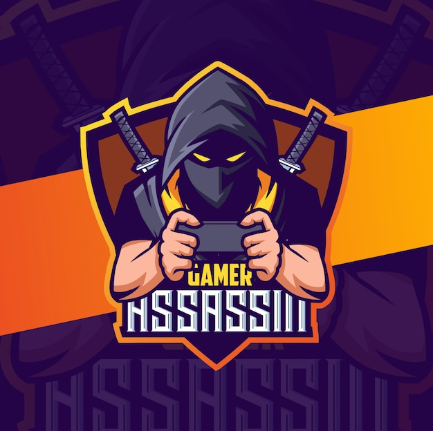 Gamer ninja assassin maskottchen esport logo design
