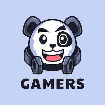 Gamer panda cartoon logo design