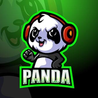 Gamer panda maskottchen illustration