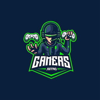 Gamer retro logo videospiel